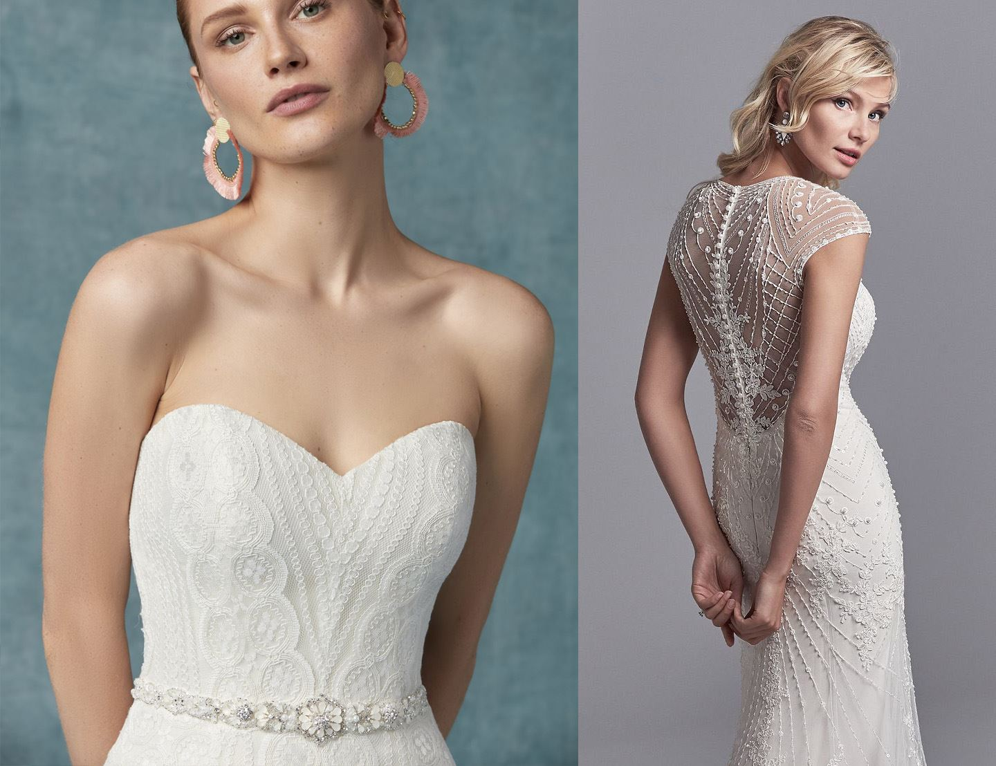 VINTAGE WEDDING GOWNS WITH GEOMETRIC DETAILS Image