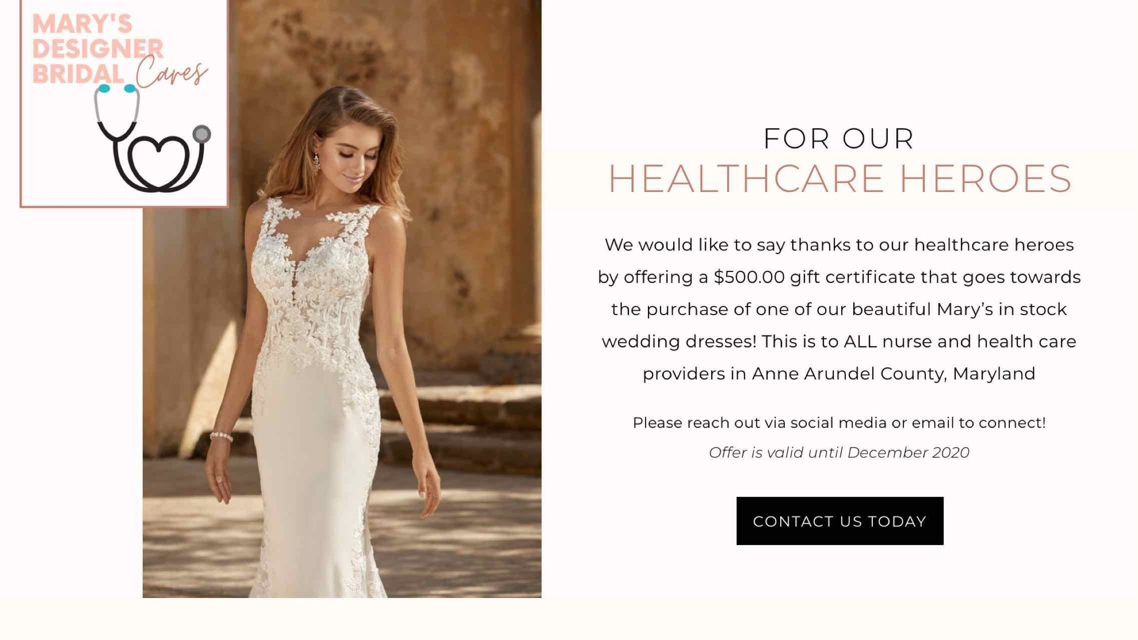 Healthcare heroes. $500 discount towards a wedding dress for those working in healthcare industry. desktop image.
