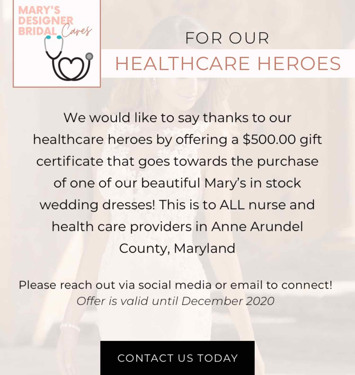Healthcare heroes. $500 discount towards a wedding dress for those working in healthcare industry. mobile image.