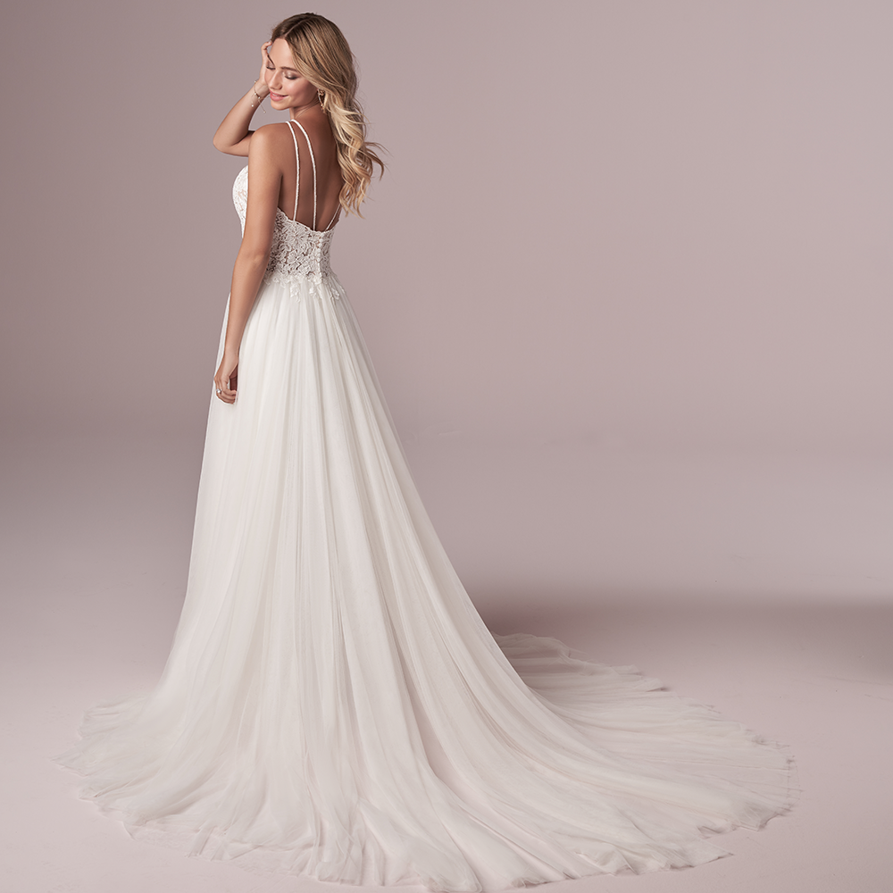 Blonde Model Wearing Spring 2021 Rebecca Ingram Wedding Dress. Mobile Image.